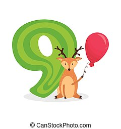 Figures for birthday isolated on white background, deer, nine. Vector.
