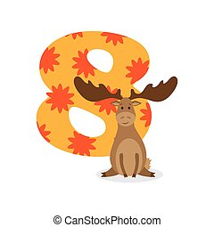 Figures for birthday isolated on white background, elk, eight. Vector.