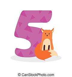 Figures for birthday isolated on white background, fox, five. Vector.