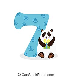 Figures for birthday isolated on white background, panda, seven. Vector.