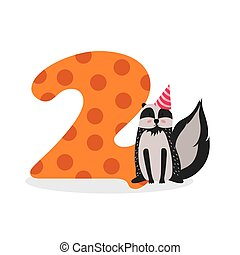 Figures for birthday isolated on white background, raccoon, two. Vector.