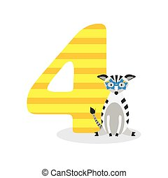 Figures for birthday isolated on white background, zebra, four. Vector.