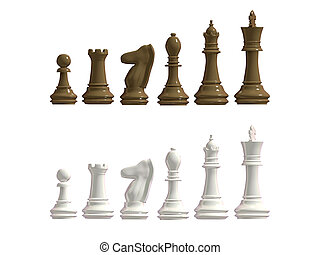 Figures from a chess of dark and light shades on a white background