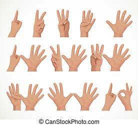Figures from fingers numbers from one to ten isolated on ...