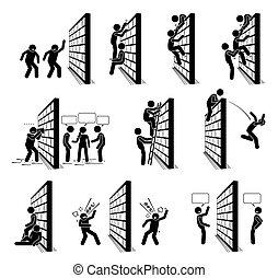 figures, gens, mur, crosse, icons., pictogramme