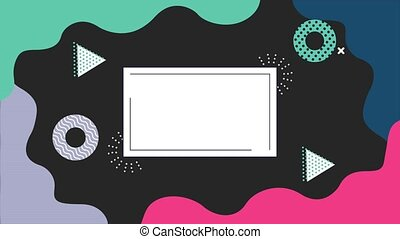 figures geometrics and colors memphis style background with rectangle frame ,4k video animated