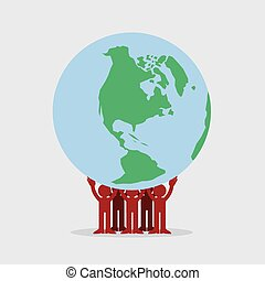 Figures Holding Earth
