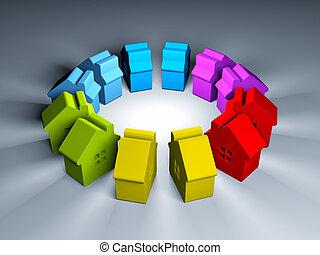 figures, houses., illustration, coloré, 3d