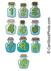 Figures in a retro bottle laboratory for experimentation and research. Numbers in magical banks with a wooden stopper. Vector illustration