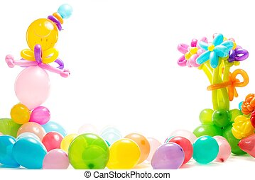 Figures made from colourful balloons isolated on white