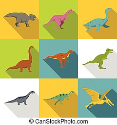 Figures of dinosaurs icon set, flat style - Figures of...