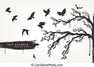 figures of flying birds, trees in grunge style