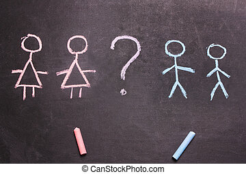 Figures of men and women are drawn chalk Concept