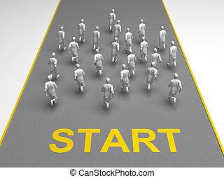 Figures of people start a marathon