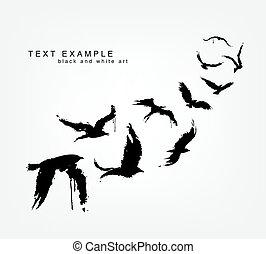 figures of wedge of birds in grunge style