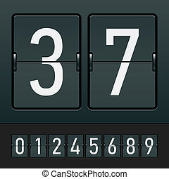 Figures on a mechanical scoreboard - Vector illustration of...