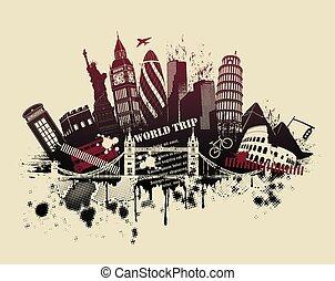 international sites in grunge illustration