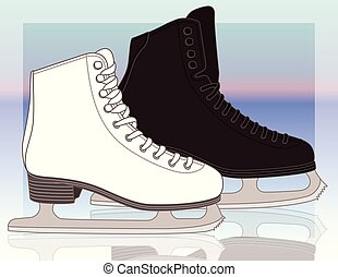 figures skates male and female background - figure skates,...
