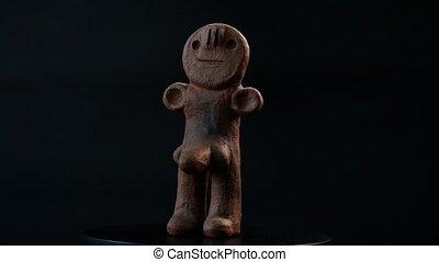 figurine, îles, ancien, argile, canari, mâle