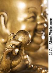 Figurine Cheerful Hotei. Chinese God of Wealth.