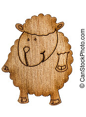 Figurine from wooden chipboard, decorative element for scrapbooking, isolated on white background