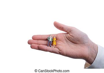 figurine model men in hand