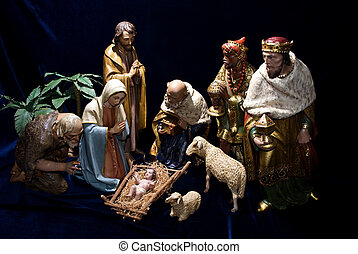 A complete Nativity scene including the holy family, wise men & animals