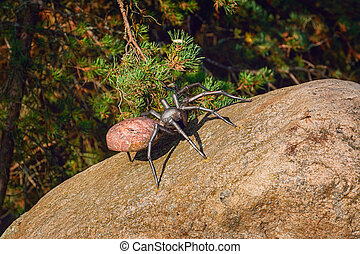 Figurine of a spider on the stone