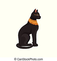 Figurine of sitting black Egyptian cat with golden necklace. Goddess Bastet statue. Ancient Egypt theme. Flat vector icon