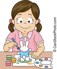Figurine Painting Girl - Illustration of a Girl Painting a...