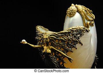 figurine, -, van, schaal, juwelen
