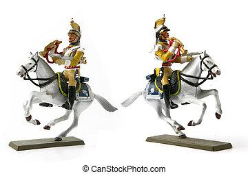 figurines, deux, cavalier