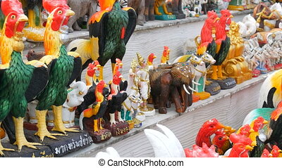 Figurines of cocks, a symbol of 2017 on the Chinese calendar...