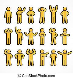 figury, zbiór, żółty, wtykać