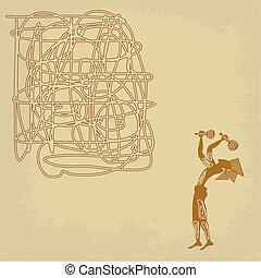 figuur, abstract, achtergrond, maracas, van een stam, man