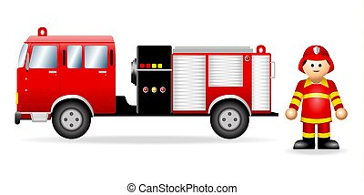 figuur, iconic, brandweerman