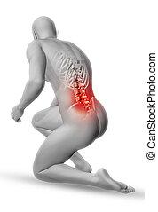 figuur, medisch, positie, mannelijke , knieling, 3d