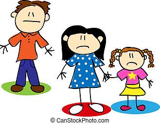 figuur, ongelukkig, gezin, stok