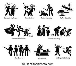 figuur, pictogram, problemen, icons., kritiek, stok, maatschappelijke kwesties