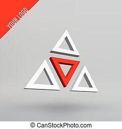 figuur, projection., abstract, aartsen, vector, perspectief, 3d, logo., jouw, driehoeken, design.