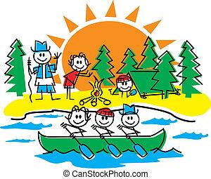 figuur, stok, familie kampeerterrein