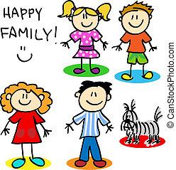 figuur, stok, gezin