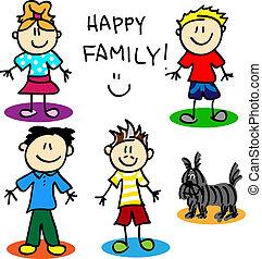figuur, stok, vrolijk, family-men