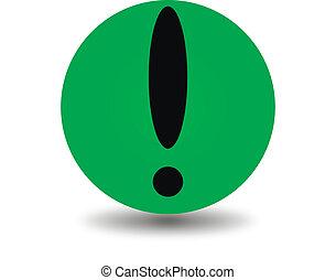 figyelem, zöld, ikon