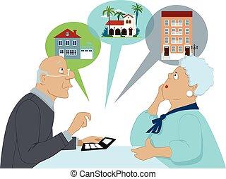 figyelembe véve, idősebb ember, ház, opciók