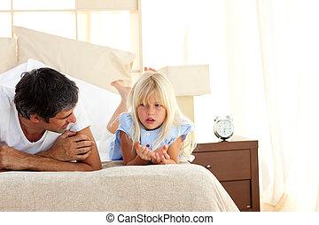 figyelmes, atya, beszéd, noha, övé, lány