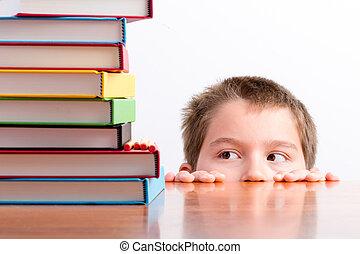 figyelmes, fiatal, iskolásfiú, eyeing, feláll, övé,...