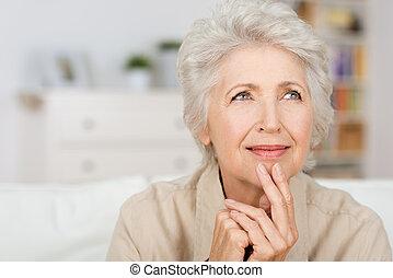 figyelmes, hölgy, idősebb ember