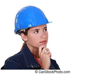 figyelmes, szerkesztés, női, worker.