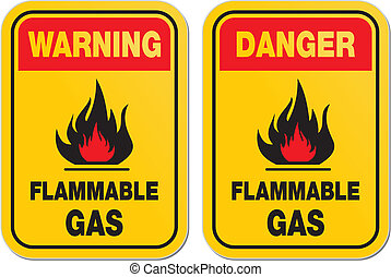 figyelmeztetés, és, veszély, gyúlékony, gáz